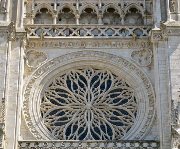 Gothic Flamboyant Traceries In The Rose Window Of Amiens Cathedral