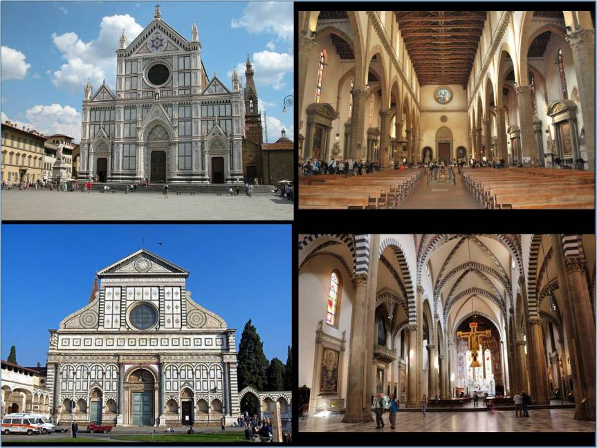Italian Gothic Mendicant Churches In Florence Top Left And Right The Basilica Di Santa Croce Of Holy Cross Principal Franciscan